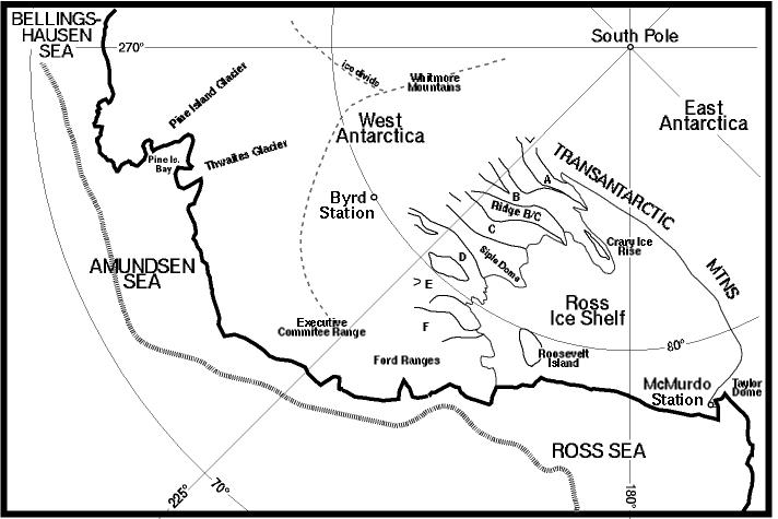 Locations of West Antarctic ice streams A through F